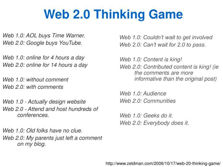 Web 2.0 Thinking Game