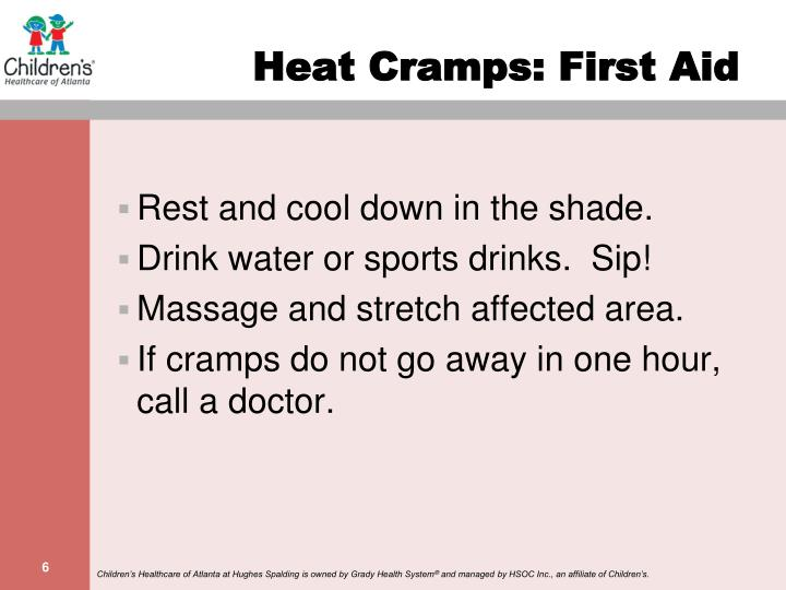 Heat Cramps: First Aid