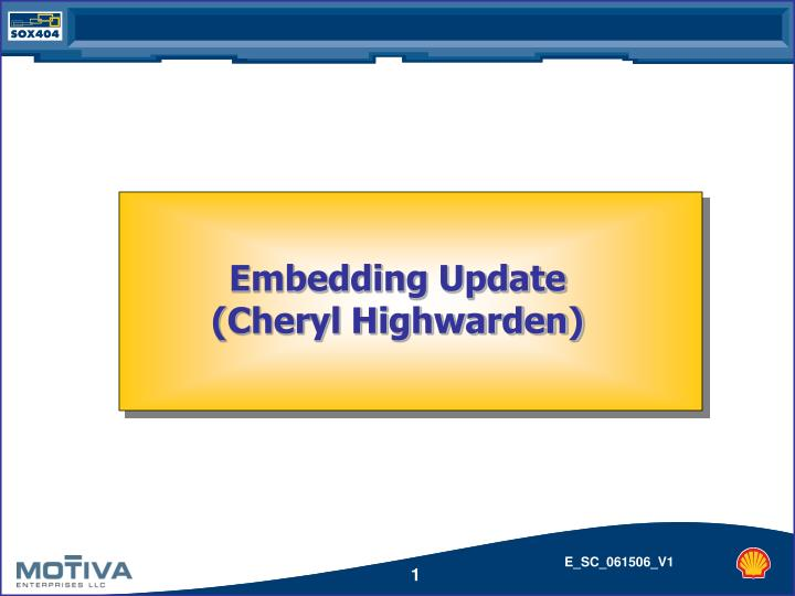 Embedding update cheryl highwarden