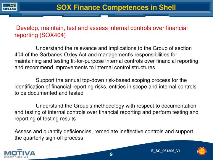 SOX Finance Competences in Shell