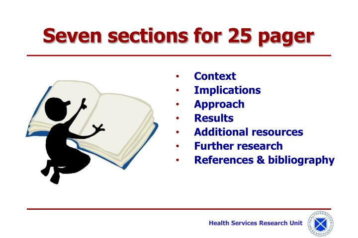 Seven sections for 25 pager
