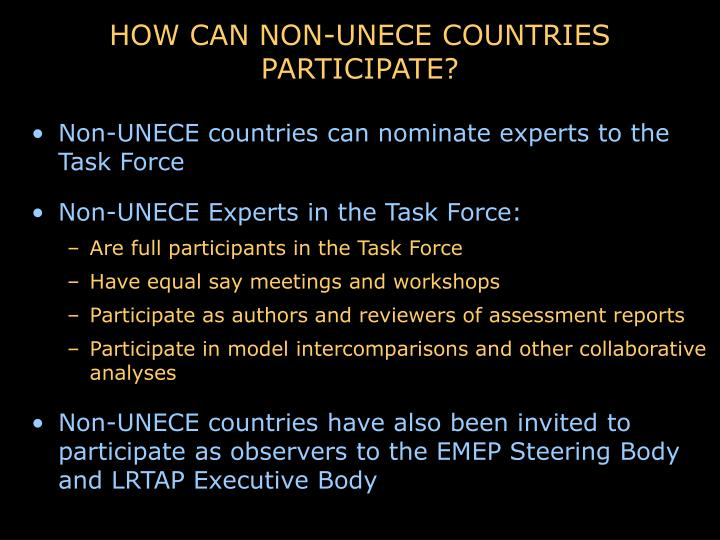 HOW CAN NON-UNECE COUNTRIES PARTICIPATE?