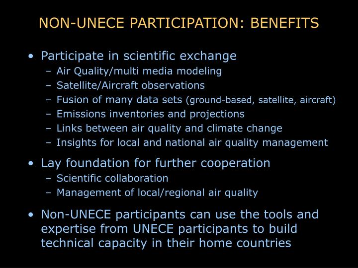 NON-UNECE PARTICIPATION: BENEFITS