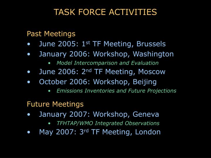 TASK FORCE ACTIVITIES