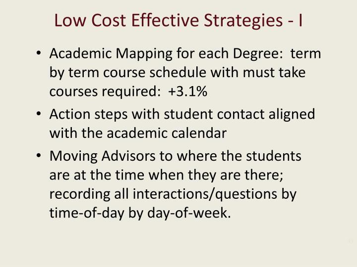 Low Cost Effective Strategies - I
