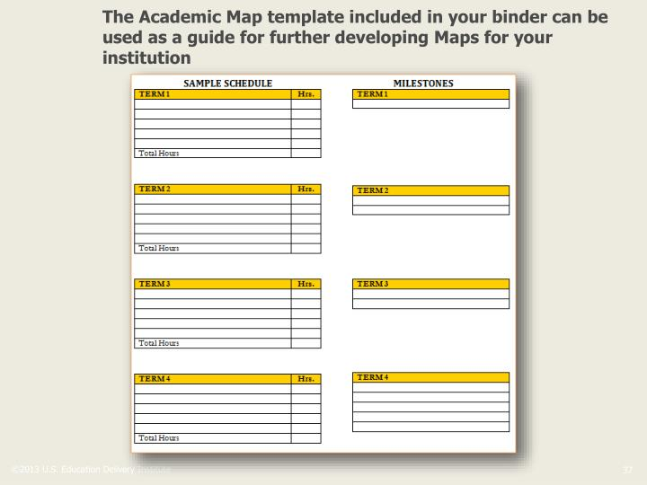 The Academic Map template included in your binder can be used as a guide for further developing Maps for your institution