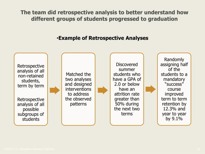 The team did retrospective analysis to better understand how different groups of students progressed to graduation