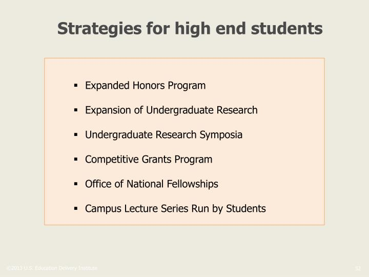 Strategies for high end students