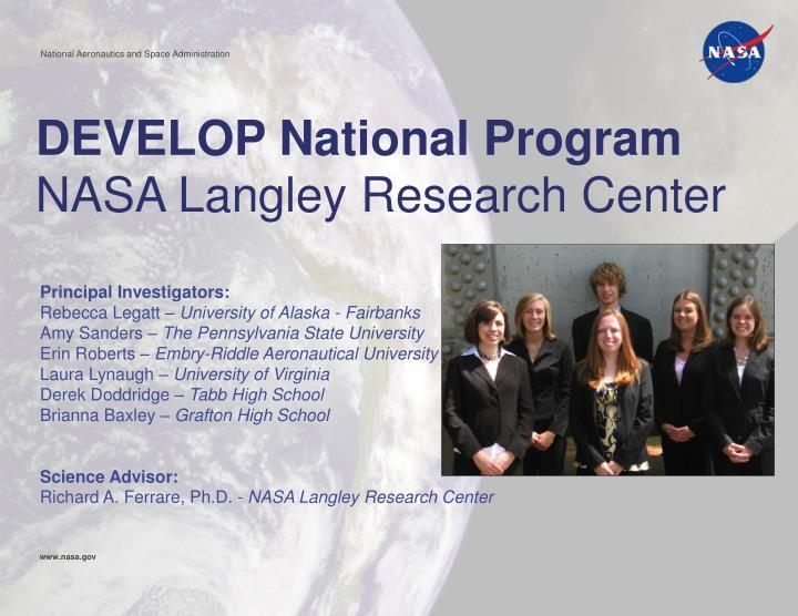 Develop national program nasa langley research center