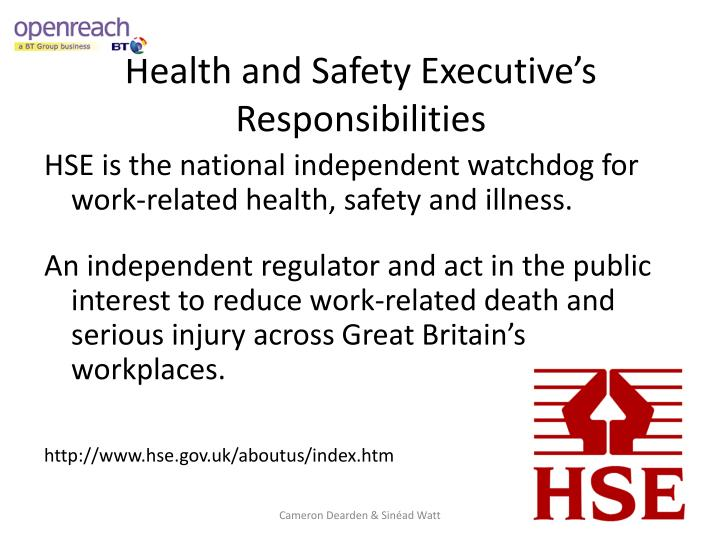 Health and Safety Executive's Responsibilities