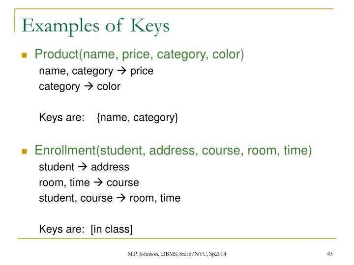 Examples of Keys