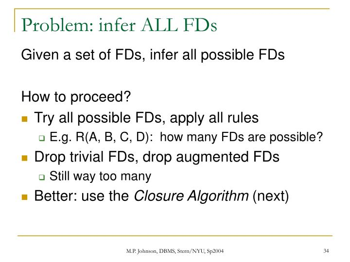 Problem: infer ALL FDs
