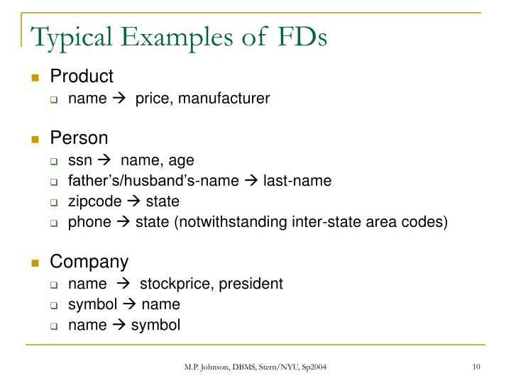Typical Examples of FDs