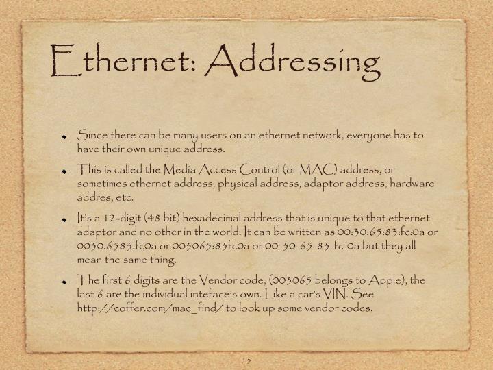 Ethernet: Addressing