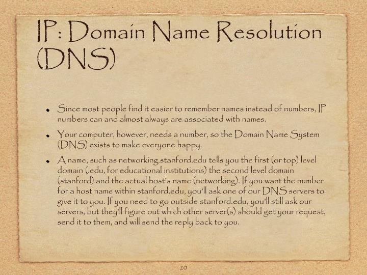 IP: Domain Name Resolution (DNS)