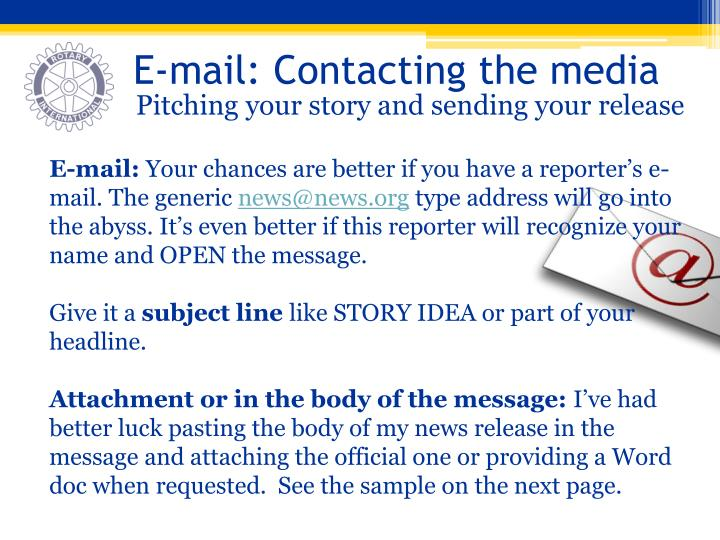 E-mail: Contacting the media