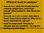 effect of each on analysis