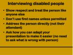 interviewing disabled people