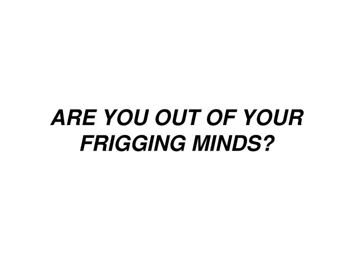 ARE YOU OUT OF YOUR FRIGGING MINDS?