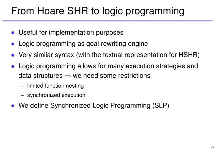 From Hoare SHR to logic programming