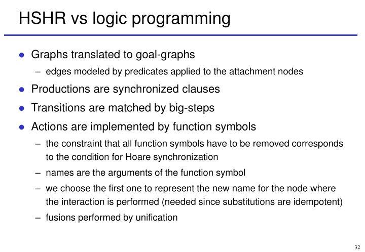 HSHR vs logic programming