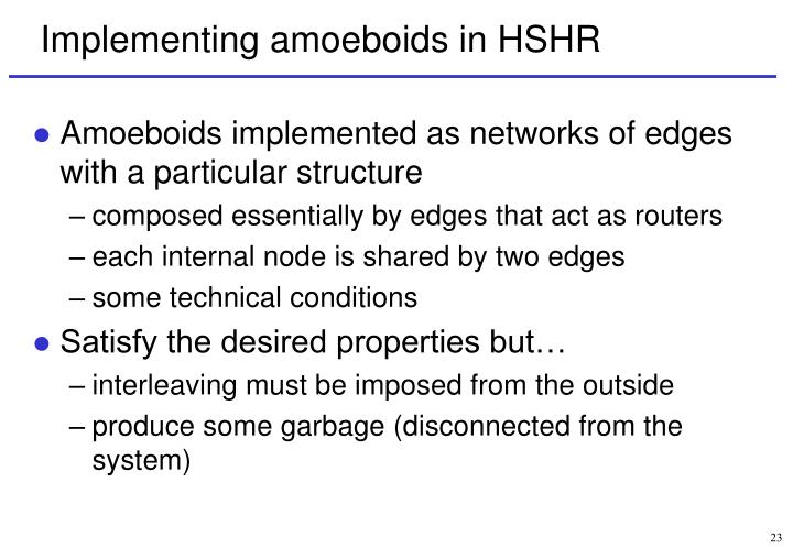 Implementing amoeboids in HSHR