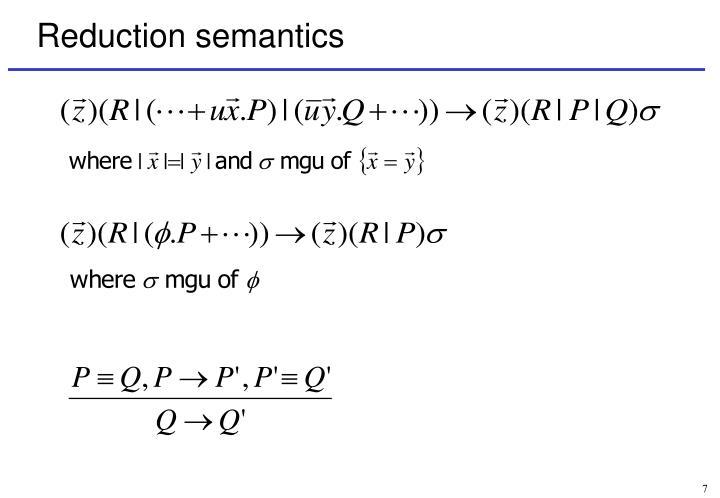Reduction semantics