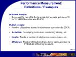 performance measurement definitions examples