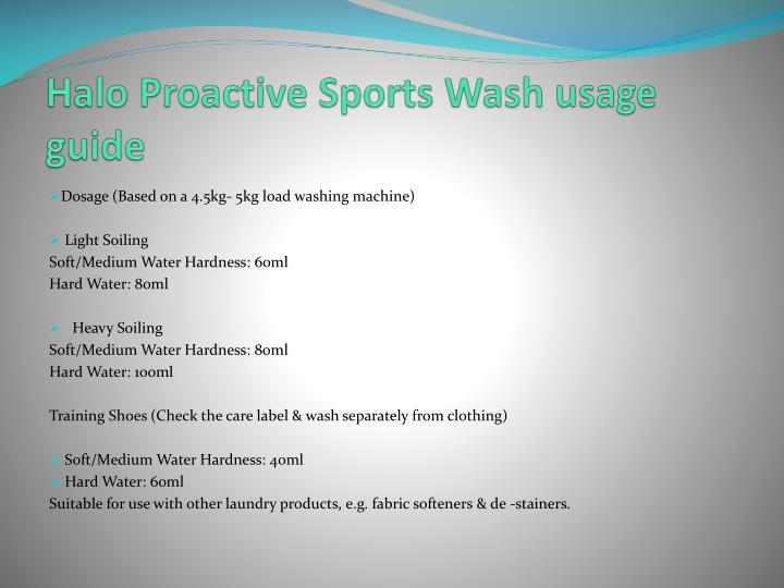 Halo Proactive Sports Wash usage guide