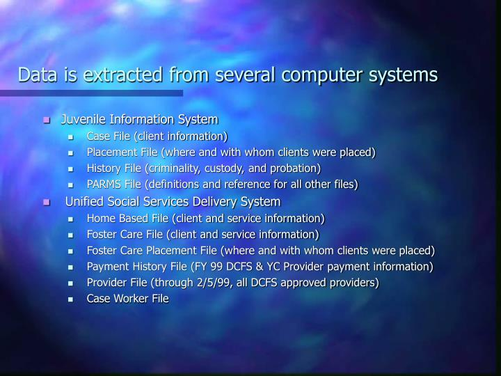 Data is extracted from several computer systems