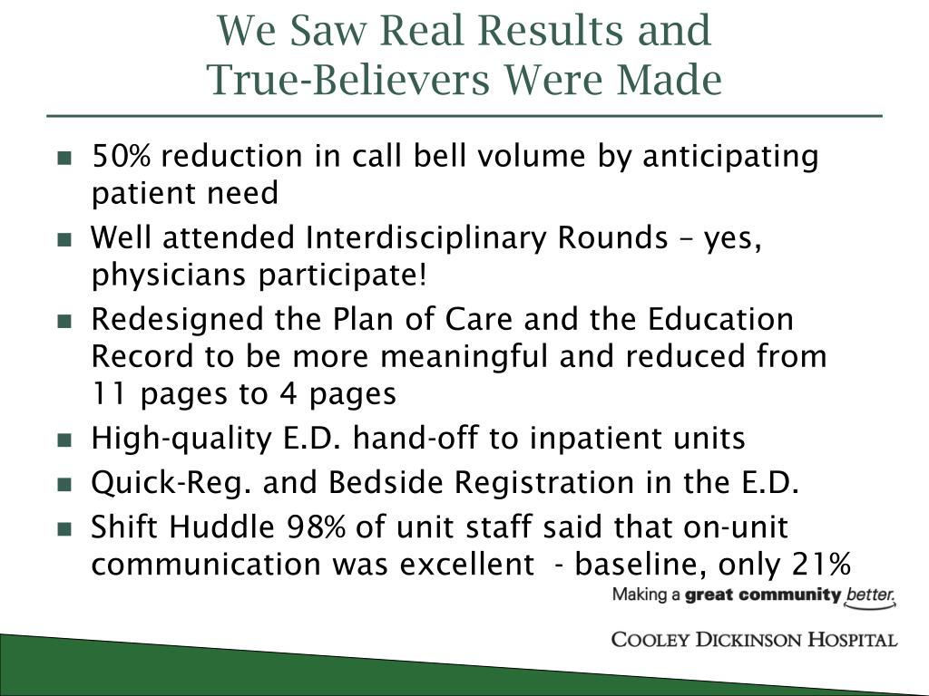 PPT - Cooley Dickinson Hospital Quality Transformation PowerPoint