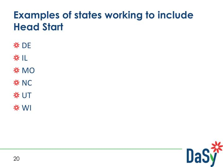 Examples of states working to include Head Start