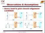observations assumptions