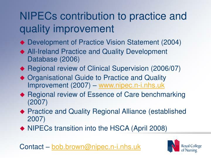 NIPECs contribution to practice and quality improvement
