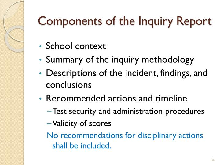 Components of the Inquiry Report