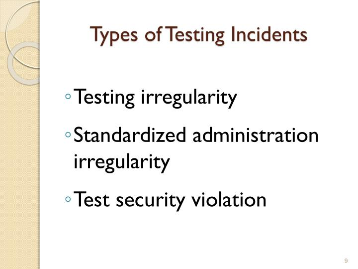 Types of Testing Incidents