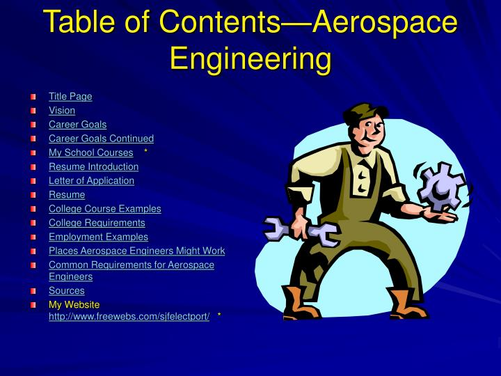 Ppt Table Of Contents Aerospace Engineering Powerpoint