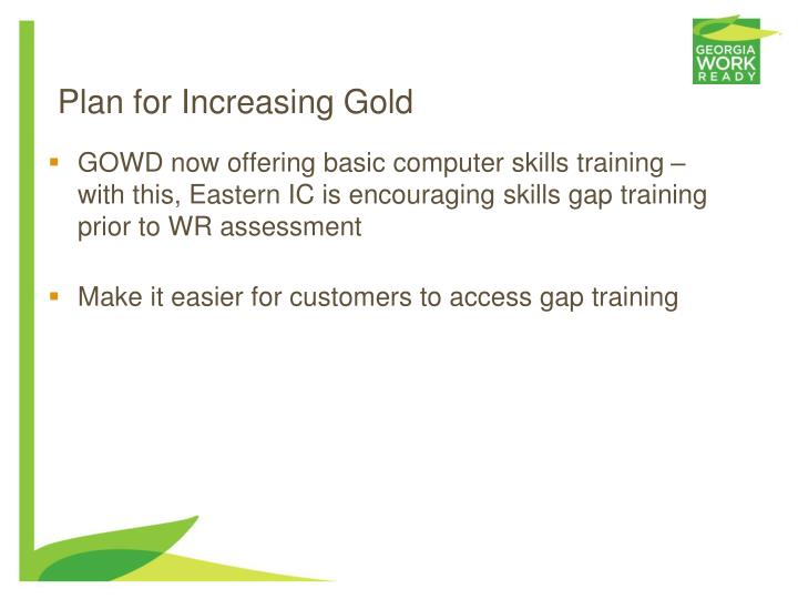 GOWD now offering basic computer skills training – with this, Eastern IC is encouraging skills gap training prior to WR assessment