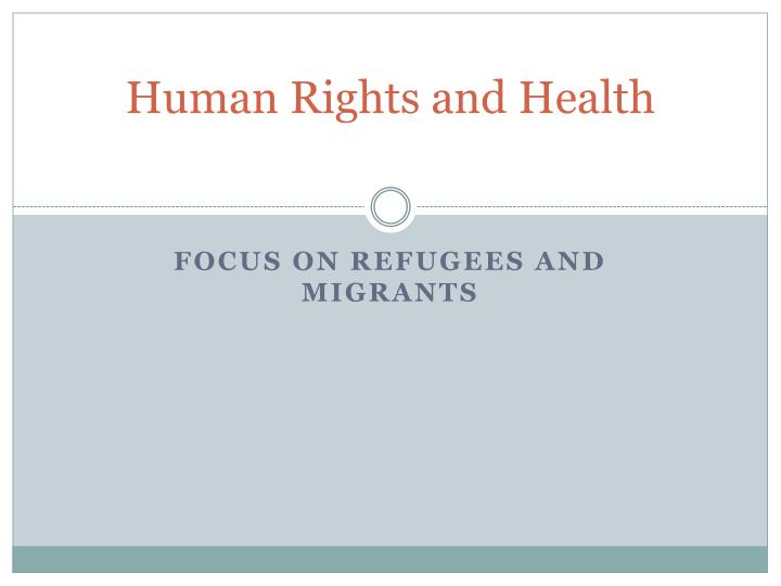 human rights and health n.