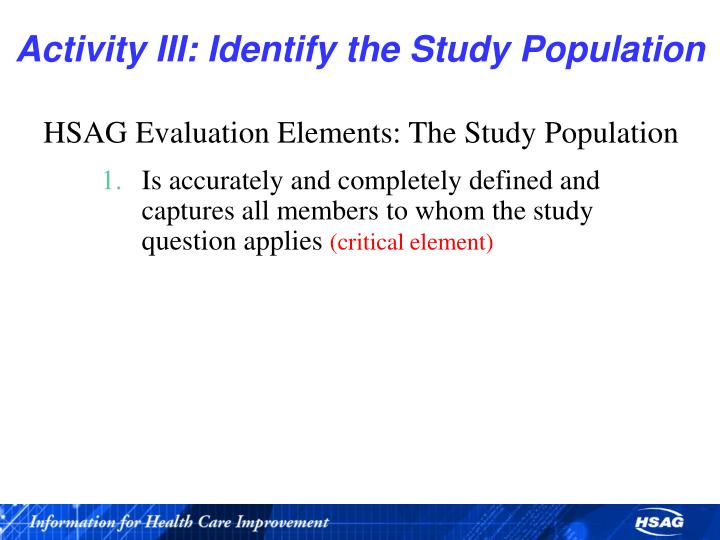 Activity III: Identify the Study Population