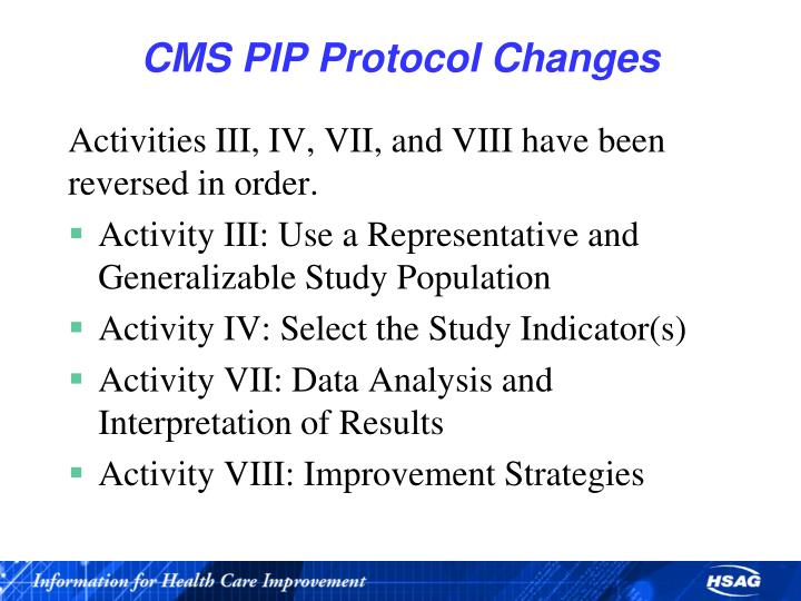 Cms pip protocol changes