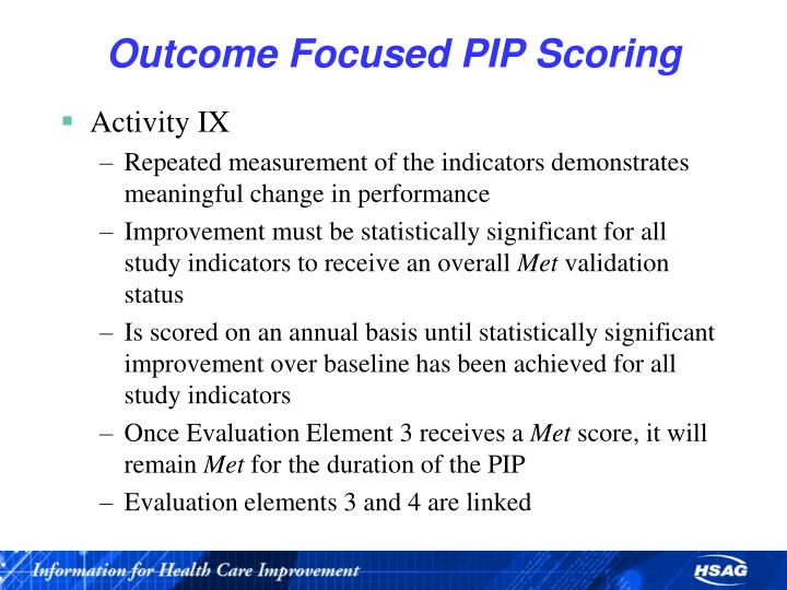 Outcome Focused PIP Scoring