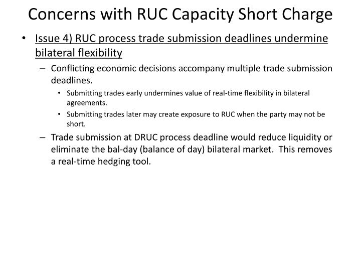 Concerns with RUC Capacity Short Charge
