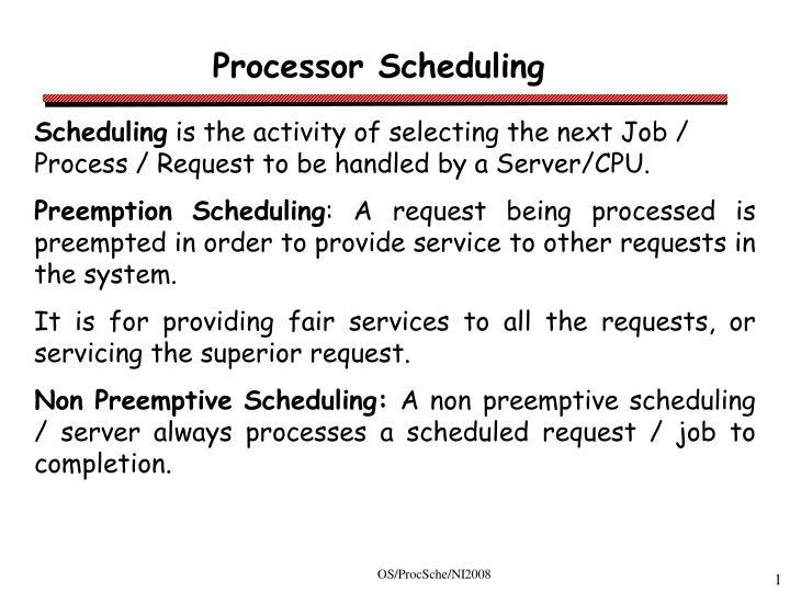 processor scheduling n.