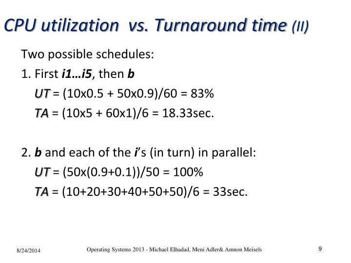 CPU utilization  vs. Turnaround time