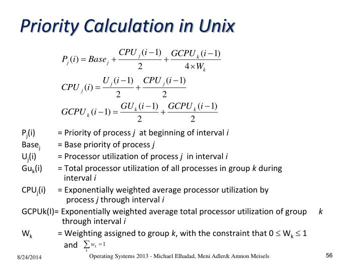 Priority Calculation in Unix