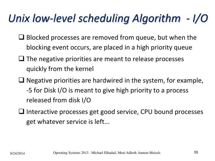 Unix low-level scheduling Algorithm  - I/O
