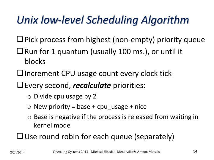 Unix low-level Scheduling Algorithm