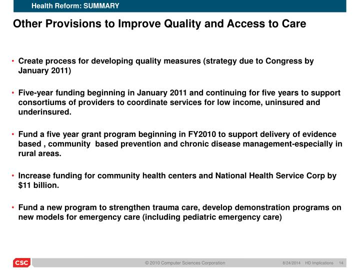 Health Reform: SUMMARY