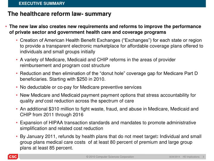 The healthcare reform law summary1
